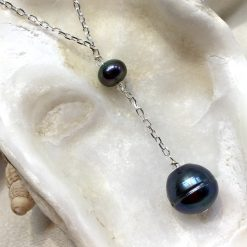 Black pearl Y necklace, large black pearl droplet, large black pendant, birthday gift for her, gothic style necklace, steampunk junkie 12