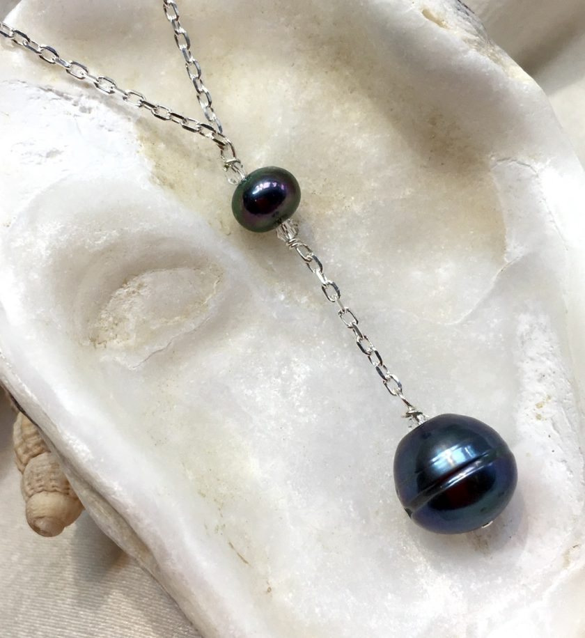 Black pearl Y necklace, large black pearl droplet, large black pendant, birthday gift for her, gothic style necklace, steampunk junkie 2