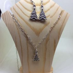 Christmas tree necklace and earring set