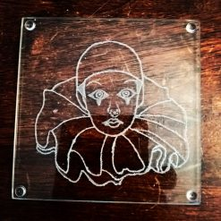 Engrave Pierrot Glass Coasters 8