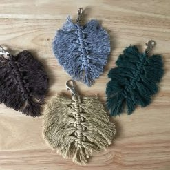 Feather Macrame Leaf Bag Charm / Keyring choice of colours 10
