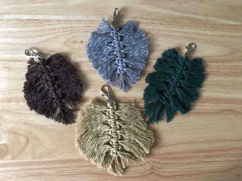 Feather Macrame Leaf Bag Charm / Keyring choice of colours 1