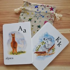 Children's flash cards, animal alphabet flash cards, 26 animals with their babies, A-Z cards