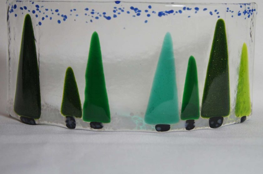 Trees, large fused glass curve. #933 1