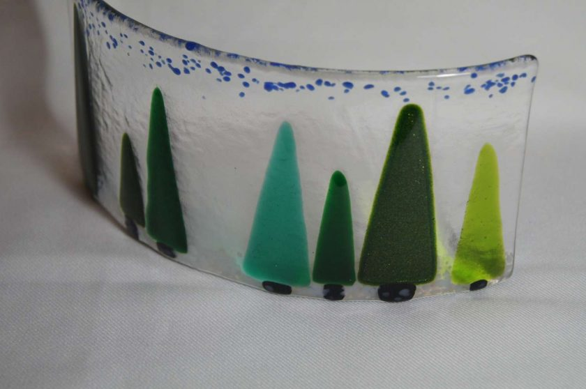 Trees, large fused glass curve. #933 2