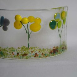 Flowers, small fused glass curve. #935