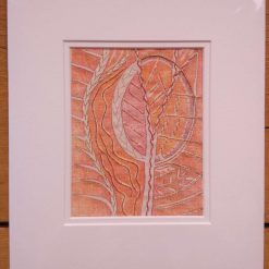 Lino Print Gold Work- textile art