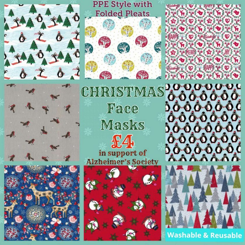 'PPE' Style FACE MASKS 🎄 Christmas CHARITY Collection 🎄 in support of The Alzheimer's Society 🎄 Washable & Reusable (Eco-Friendly) 🎄 Choice of Designs & Sizes 1