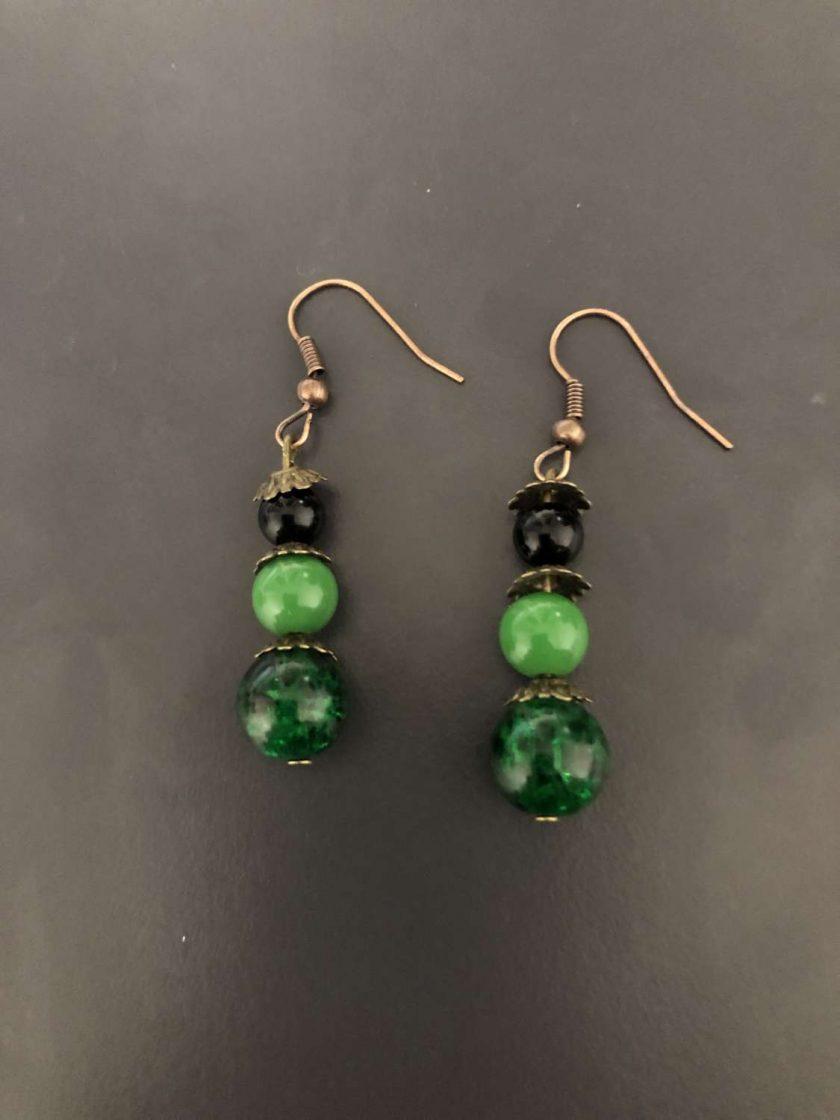 Green Beaded Drop Earrings 1
