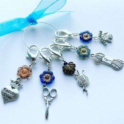 Stitch Markers, knitting themed stitch markers, Czech flower bead stitch markers