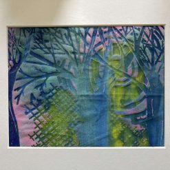 'sun set' - Original screen print textile art / free p.p