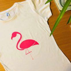 Handprinted T-Shirt - Neon Pink Flamingo *Free UK Shipping*