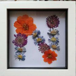 Flower letter picture framed