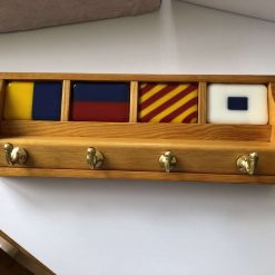 Hand-Crafted Fused Glass and Wood - Nautical Theme Key Rack