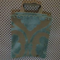 Duck Egg Blue Plush Fabric Design Hand Made Fully Lined Tote Shopping or Work Bag with Pom Pom trim 16