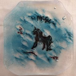 Hand Crafted Fused Glass with Copper Trinket Dish - Unicorn Head