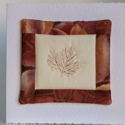 Handquilted Printed Leaf Mini Quilt