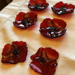 Hand Crafted Fused Glass Poppy Dish - 2 sizes