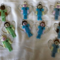 'Angel in Scrubs' hand-crafted fused glass hanging decoration