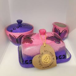 THE PURPLE BUTTERFLY SET Hand painted | Dishwasher and Microwave Safe |