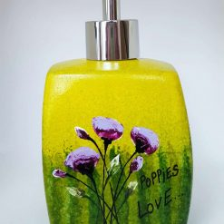 POPPIES LOVE SOAP DISPENSER Hand painted | Dishwasher and Microwave Safe |