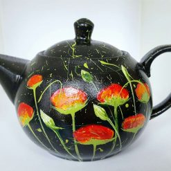 RED POPPIES IN THE BLACK PORCELAIN TEAPOT Hand painted | Dishwasher and Microwave Safe |