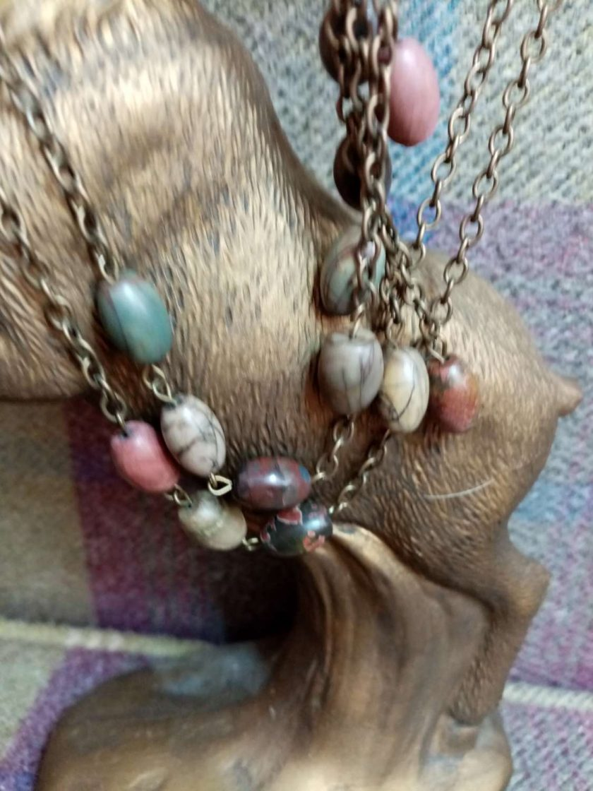 Long Agate And Forest Jasper Necklace