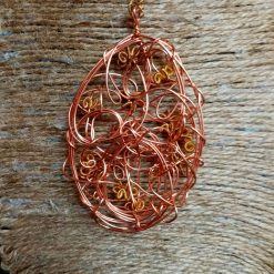 Copper And Gold Colour Twisted Wire Pendant 2