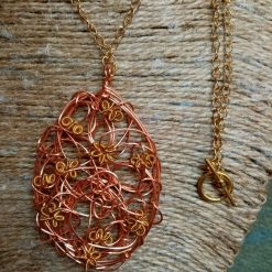 Copper And Gold Colour Twisted Wire Pendant 5