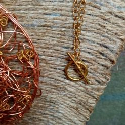 Copper And Gold Colour Twisted Wire Pendant 4