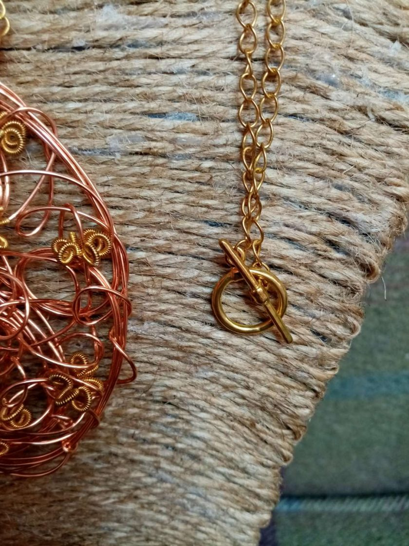 Copper And Gold Colour Twisted Wire Pendant