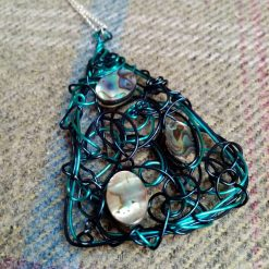 Turquiose Coloured Wire And Abalone Shell Pendant