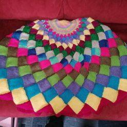 """Hand Knitted Shawl/throw in Brighter Tones - 44"""" Diameter (112cm) (Copy)"""