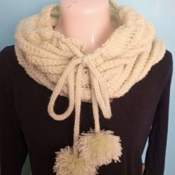 Button up hand knitted pom-pom cowl