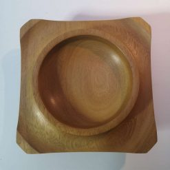 Iroko square round winged bowl