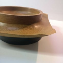 Iroko square round winged bowl 1