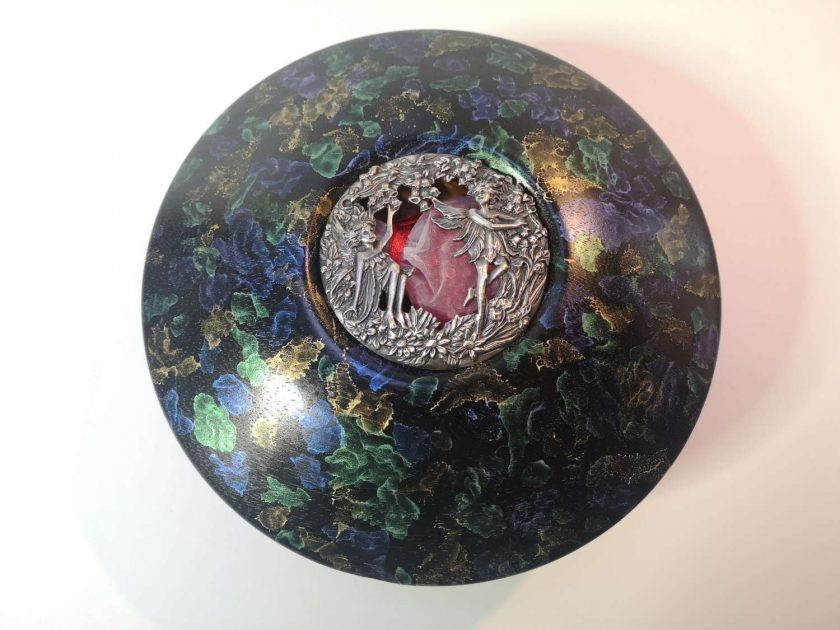 Iroko Faerie bowl Iridescent paint