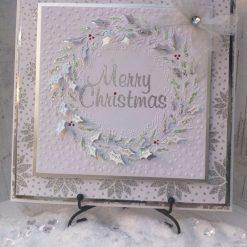 Luxury Handmade Christmas Card - White Merry Christmas Wreath
