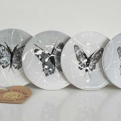 BUTTEFLIES CERAMIC COASTERS Hand painted | Dishwasher and Microwave Safe |