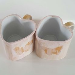 SHABBY CHIC BUTTERFLIES HEART CUPS Hand painted | Dishwasher and Microwave Safe |