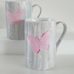 PINK BUTTERFLIES CUPS Hand painted | Dishwasher and Microwave Safe |