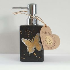 GOLD BUTTERFY SOAP DISPENSER Hand painted | Dishwasher and Microwave Safe |