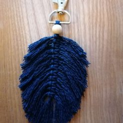Macrame feather keyring/bag charm