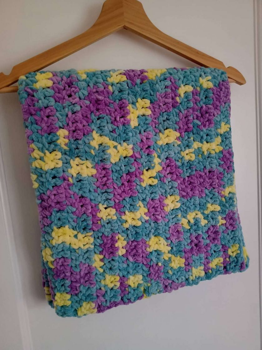 Crochet Baby Blanket - Purple/Green/Yellow Multi Colour 1