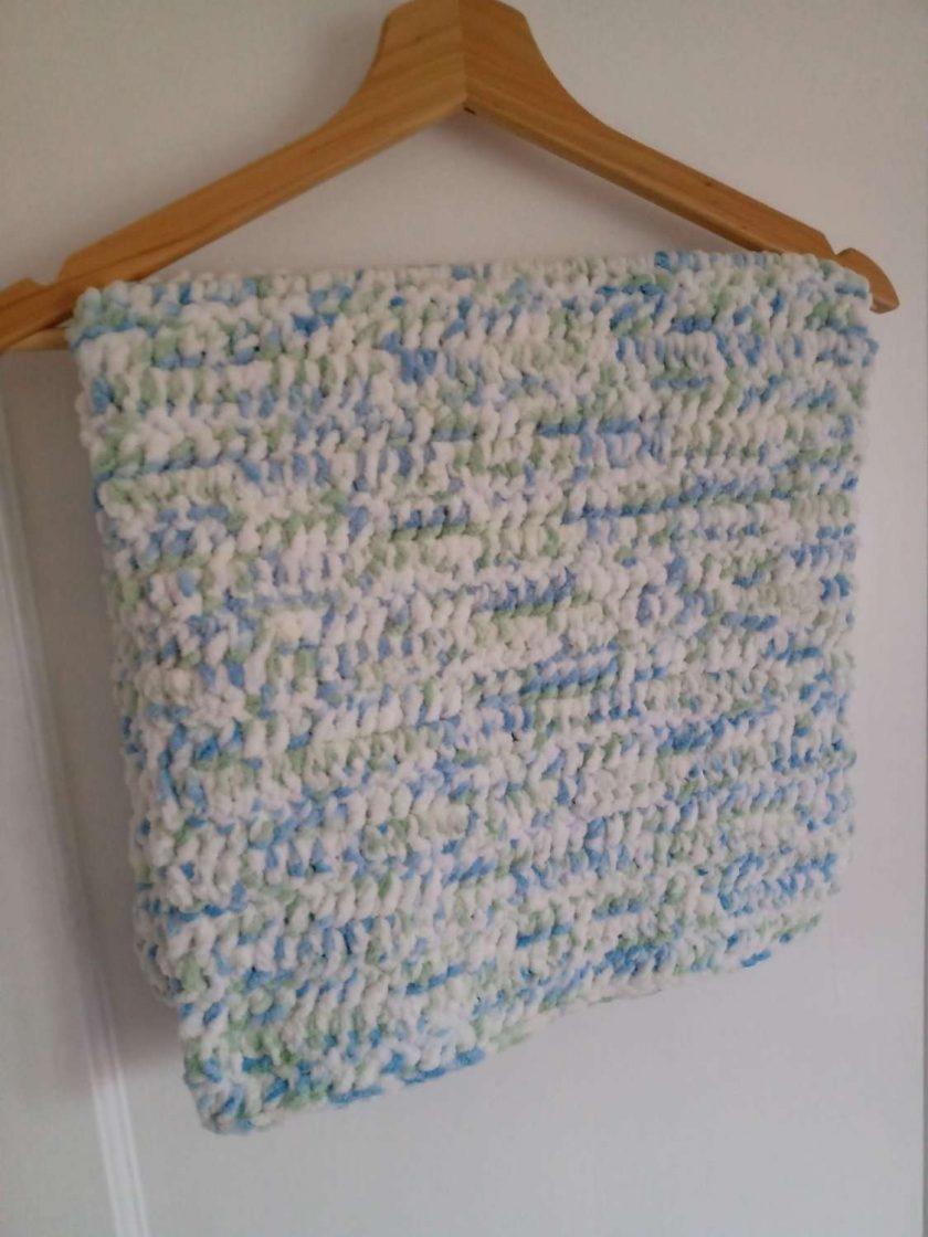 Crochet Baby Blanket - Blue/White Multi Colour 1