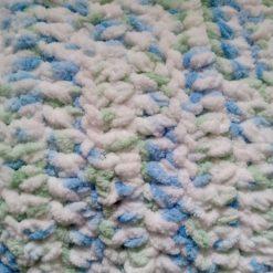 Crochet Baby Blanket - Blue/White Multi Colour 7