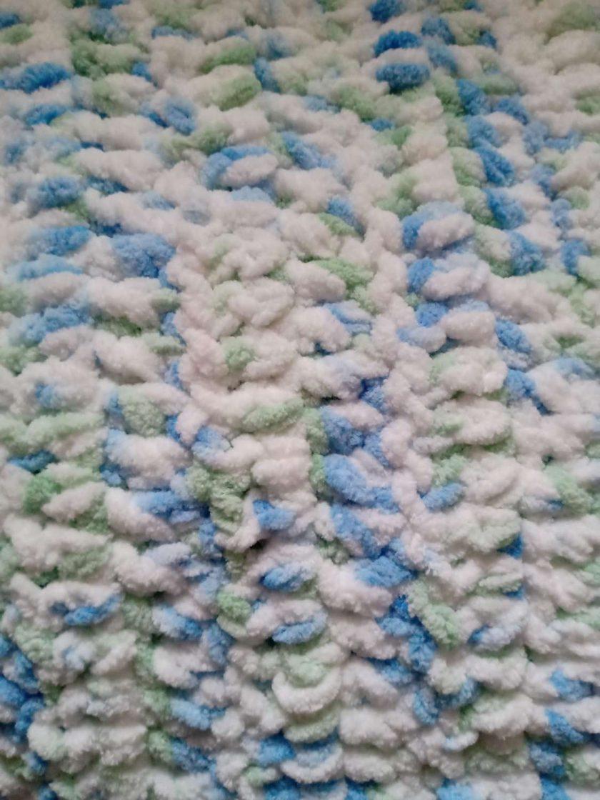 Crochet Baby Blanket - Blue/White Multi Colour 4