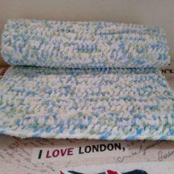 Crochet Baby Blanket - Blue/White Multi Colour 5