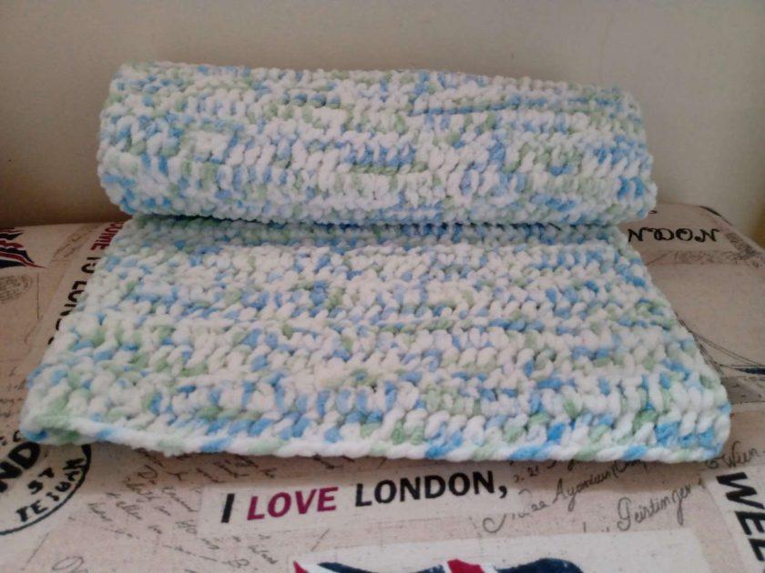 Crochet Baby Blanket - Blue/White Multi Colour 2