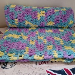 Crochet Baby Blanket - Purple/Green/Yellow Multi Colour 3